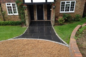 Esher Front Entrance Paving, Wall & Driveway